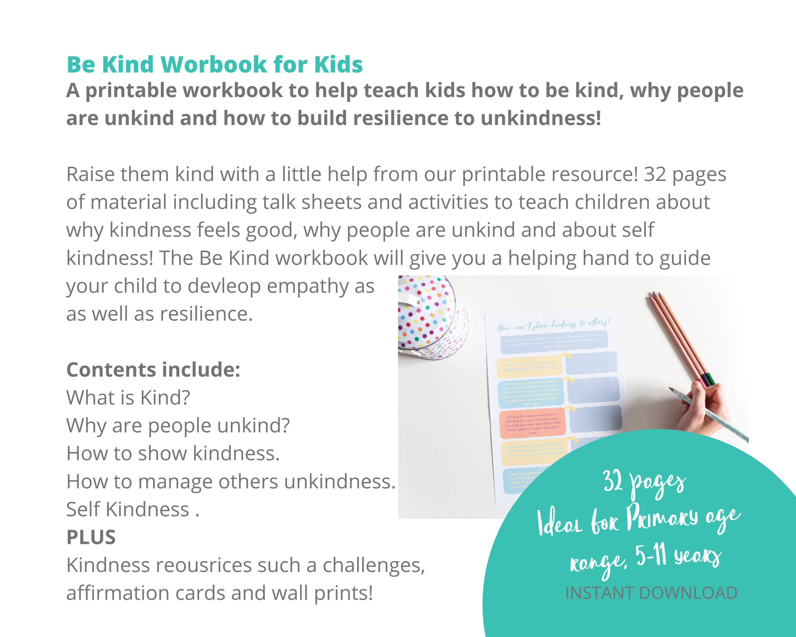 Kindness Printable for Kids. Develop Empathy and Resilience